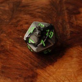 Chessex Gemini Black, Grey/Green D20