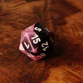 Chessex Gemini Black, Pink/White D20