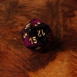 Chessex Gemini Black, Purple/Gold D20
