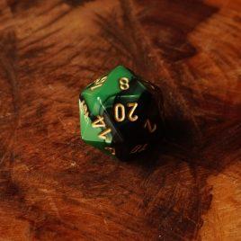Chessex Gemini Black, Green/Gold D20