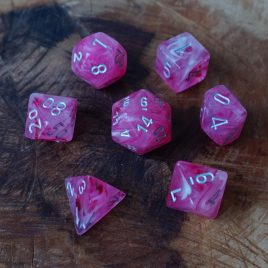 Chessex Ghostly Pink/Silver Polyset