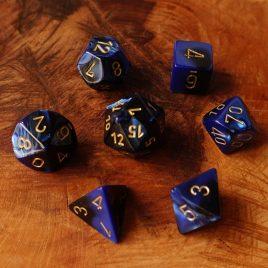 Chessex Gemini Black Blue/Gold Polyset