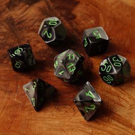 Chessex Gemini Black Grey/Green Polyset